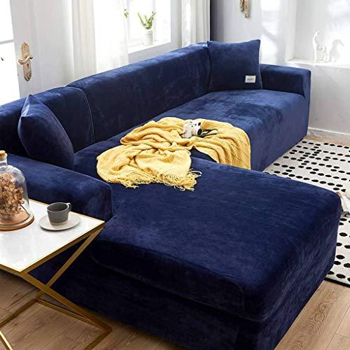TTJJ Samt Sofabezug, Stretch Sofahusse Weich Verdicken Gemütliches L-Form Ecksofa Sofa Überwürfe Passend für Wohnzimmer Katzen Hund Haustiere-2 Sitzer 145-185cm-Tibetisch blau