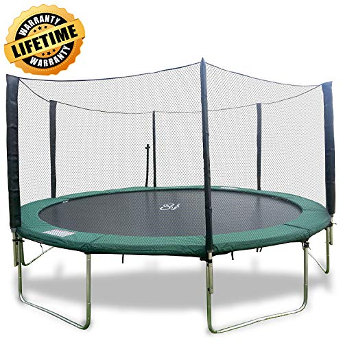 Happy Trampoline - Galactic Xtreme Gymnastic Round Trampoline with Safety Net Enclosure - Heavy Duty Gymnastic Commercial Grade - 550 lbs Capacity on Frame & Springs, 16 FT