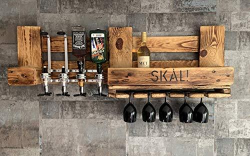 WIKINGER BAR SKÂL mit ALKOHOLSPENDER Wandregal Flaschenhalter Met groß aus Paletten Holz, Geschenk Deutschland Österreich
