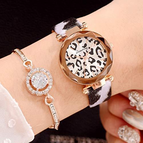 JZDH Relojes para Mujer 2pcs Relojes Conjunto Mujeres Cuero Leopardo Estampado Vestido...