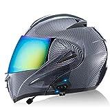 ZLYJ Bluetooth Motocicleta Casco Integral, Abierto Cascos de Moto, Modulares Casco con Anti-Niebla Doble Visera, Profesional Unisex Casco Motocross, Certificado ECE E,XL