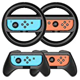 HEYSTOP Grip Kit Joy-Con Grip Compatible with Nintendo Switch Controller Racing Switch Steering Wheel - 4 Pack, Comfort Handle for Kids Family Fun Special for Mario Kart 8 Deluxe (Black)