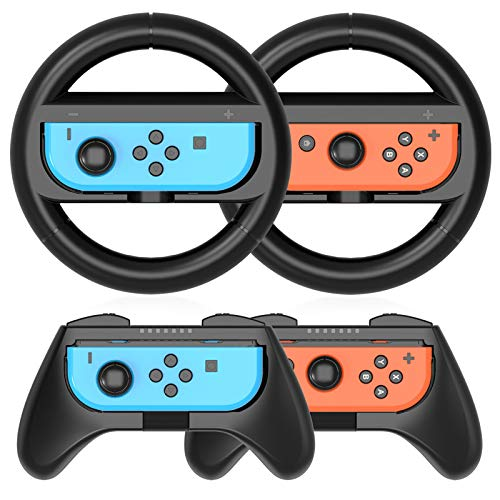 HEYSTOP Volantes y Grip Switch Joy-con para Nintendo Switch, Switch Joy-con Racing Wheel Volante, Mandos Grip Joy-con para Mario Kart Juegos/Joy-con Mandos Nintendo Switch Deluxe 4 Piezas (Negro)