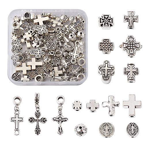 Beadthoven - 70 piezas de 14 estilos de plata tibetana con crucifijo espaciador de cruz religiosa de metal, colgantes para joyas, manualidades, agujeros: 1-5 mm