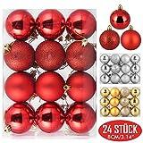 Zogin Adornos de Adornos navideños Bolas de árboles de Navidad Decoraciones para Navidad Decoración y Fiestas (Rojo, 24piezas-8cm)