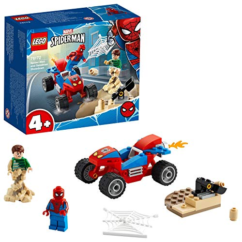 LEGO 76172 Spider-Man and Sandman Showdown Playset with Racing Car for 4+ Years Old Boys and Girls, Super Heroes Set