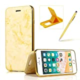 Gold Marble Leather Case for iPhone 6s Plus,Plating Wallet Leather Case for iPhone 6 Plus,Herzzer Premium Magnetic Clear Soft Rubber Stand Case with Card Slots