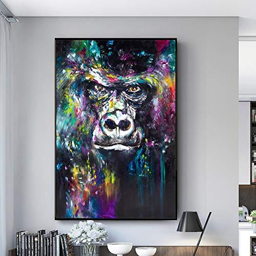 wojinbao Kein Rahmen Graffiti Leinwand Poster und Drucke auf Wand abstrakte Affen Kinderzimmer Dekoration