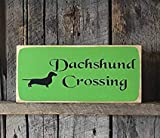 Tarfy Dachshund Crossing Weiner Dog S Doxie Puppy Holder Dashhound Animal Lover Funny Craft Hölzerne Plaketten-Wandbehang-Kunst dekorativ für Haupthaus-Bar-Kaffee-Café-Tee-Grill-Geschäft