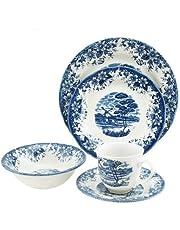 Claytan Windmill Dinner Set, Ceramic, 20Pc, Cl 12020, Blue