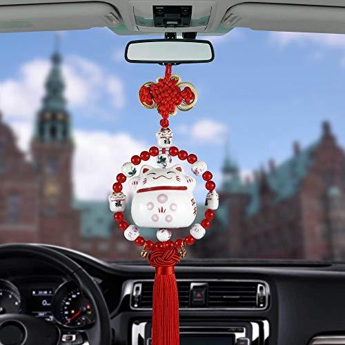 XVBTR Colgante Coche Colgante Sonriendo Lucky Cat Espejo retrovisor del Coche Decoración Dibujos Animados Auto Interior Borlas Adorno Accesorio Cuelga Trim Gift Rojo