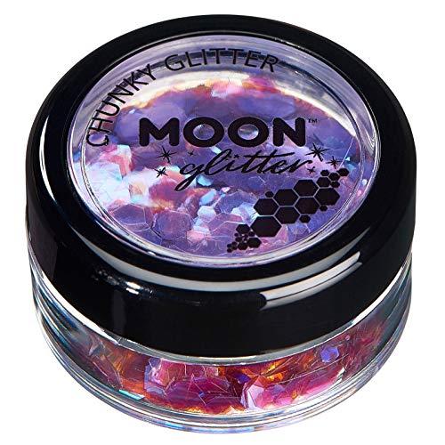 Paillettes rondes irisées par Moon Glitter (Paillette Lune) – 100% de paillettes cosmétique pour le visage, le corps, les ongles, les cheveux et les lèvres - 3g - Violet