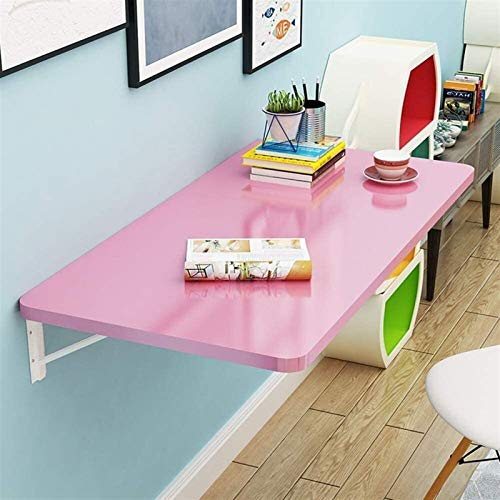 XSHBHD Folding Wall Table, Children's Study Table/laptop Table/dining Table, Stainless Steel Bracket, Save Space (Color : Pink, Size : 100x40cm/39x16in)