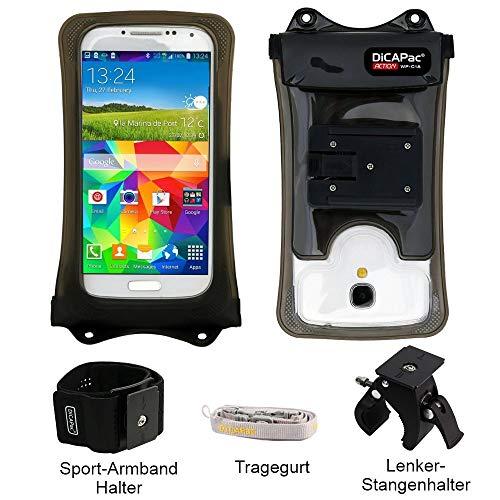 DiCAPac Action passend für HTC One M8s, M9, M9 Prime Camera Edition, Mini 2 Handys - Fahrrad und Motorrad Handyhalter/Lenkerhalterung + Handy-SportArmband - abnehmbare Handyhülle wasserdicht 10m IPX8