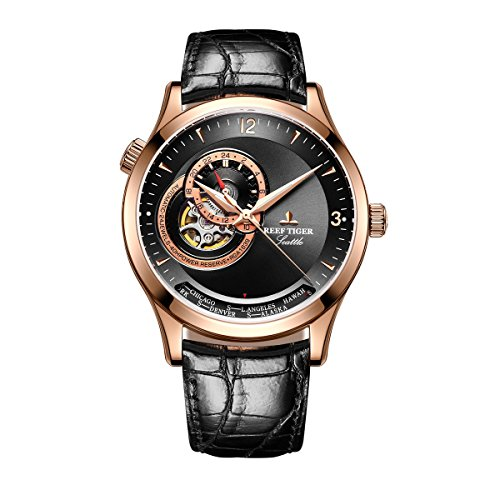 REEF TIGER Herren Uhr analog Automatik mit Leder Armband RGA1693-PBB