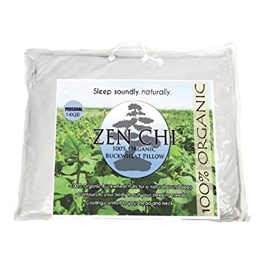 Zen Chi Buckwheat Pillow- Organic Personal Size (14 X20 ) w Natural Cooling Technology- All Cotton Cover w Organic Buckwheat Hulls