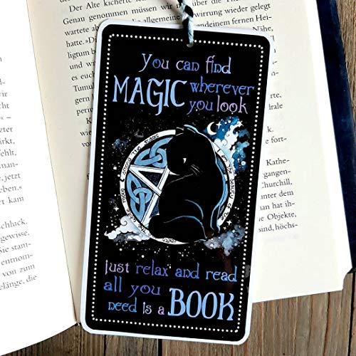 Lesezeichen Katze- Handmade - Spruch - Magie - Gothic - Pentagram- Bookmark - Geschenk