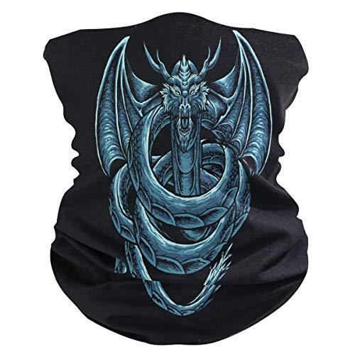 Sawhonn Genial schattige blauwe drakensjaal, mascara, gezichtsmasker, bandana, haarband, bivakmuts, hoofdband voor sport, dames en heren