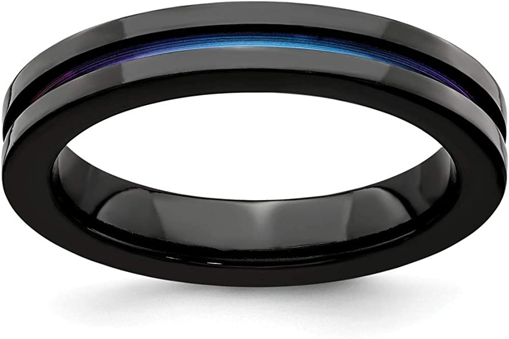 ICE CARATS Edward Mirell Black Titanium Anodized 4mm Wedding Ring Band Classic Flat Fancy Fashion Jewelry for Women Gifts for Her