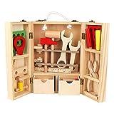 YOUTHINK Kid Wooden Finetend Toolbox Toys Set di Strumenti di Riparazione educativi per Bambini Giocattolo da Costruzione educativo Fai-da-Te