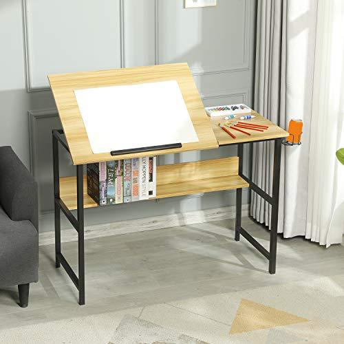 Sedeta Zeichentisch Höhenverstellbar, Schreibtisch neigbar, Computertisch Kippbare Tischfläche, Architektentisch für Architekten/Techniker, PC Tisch, Arbeitstisch Büro, Bürotisch mit Getränkehalter