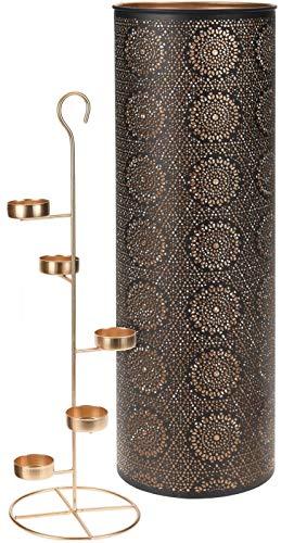 AiO-S - OK Laterne Teelichthalter Kerzenständer 49 cm Kerzenleuchter antik Magic Sphärenlicht