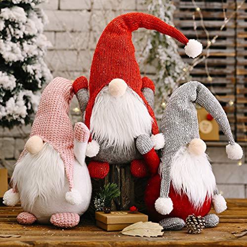 Huhu833 Weihnachten Deko Wichtel 60 cm Hoch, Schwedischen Weihnachtsmann Santa Tomte Gnom, Skandinavischer Zwerg Geschenke für Kinder Familie Weihnachten Freunde Ostern (Rot)