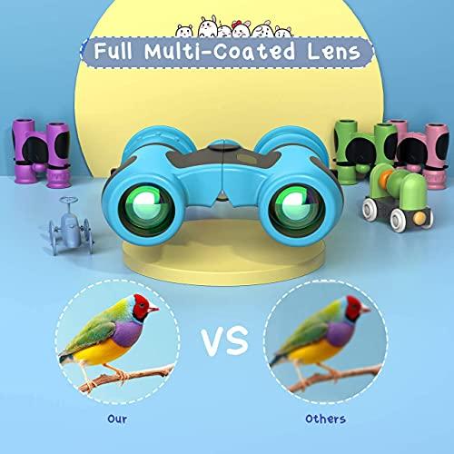 Mini binoculares Infantiles 8 x 21, binoculares Resistentes, Ideales para la matrícula de Navidad, Pascua o Escuela,Azul