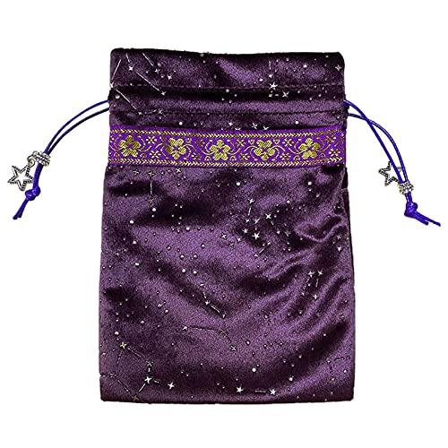 Bolsas de cartas de tarot de terciopelo morado, bolsa de tarot con cordón bordado de juego de mesa con patrón de constelación, bolsa de tarot para entusiastas del tarot, protege la tarjeta de daños