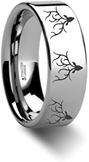 Thorsten Deer STAG Antlers Animal Reindeer Deer Stag Head Print Ring Inside Engraved Flat Tungsten Ring 6mm Wide Wedding Band with Custom Inside Engraved Personalized from Roy Rose Jewelry