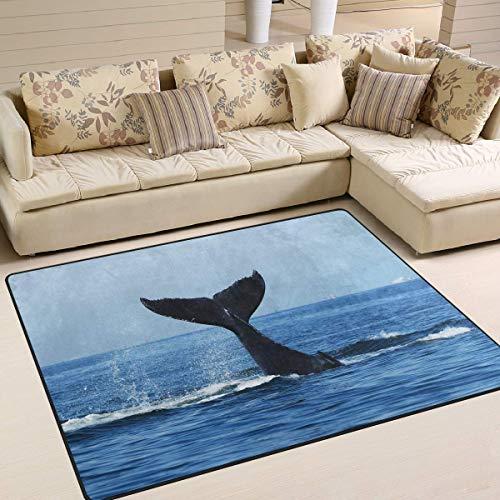 Large Floor Carpet 7'x5' Ocean Sea Whale Sky Area Rug Anti-slip Doormat for Living Room Bedroom