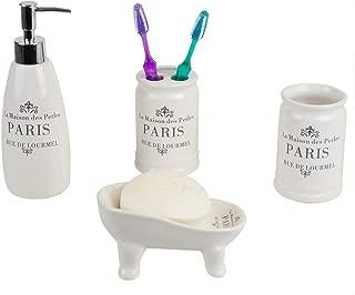 Home Basics French Provincial Paris 4 Piece Bath Bathroom Accessory Set (White)