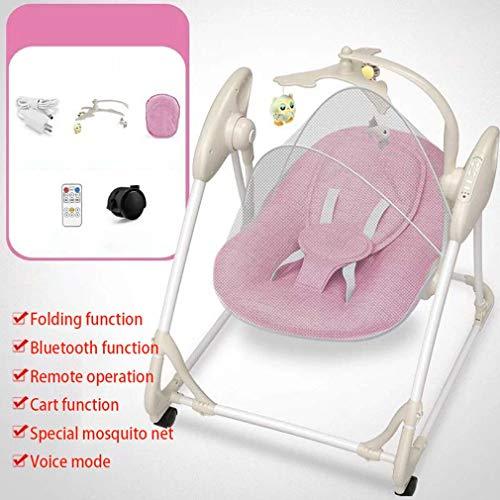 ZWQ kids Chaise à Bascule électrique, inclinable Berceau Pliant bébé, Chaise de Confort Nouveau-né endormi, Le Shaker Enfants, adapté pour 0-2 bébé,A