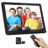1920x1080 16:9 IPS Screen 10 inches Digital Photo Frame + 32GB SD Card HD Digital Picture Frame Widescreen, 1080P HD Video Frame, Photos Auto Rotate, Support Thumb USB Drive, SD/MMC/MS Card(Black)