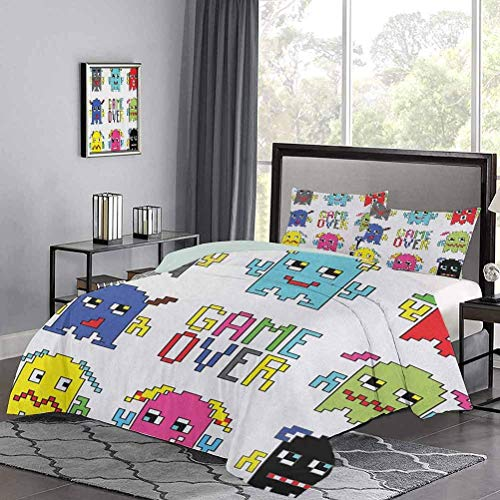 Kinder 'Quilt Set Pixel Robot Emoticons mit Game Over Sign Inspiriert von Computerspielen der 90er Jahre Fun Artprint Hypoallergener Bettbezug Sehr weich und glatt Gelbrot