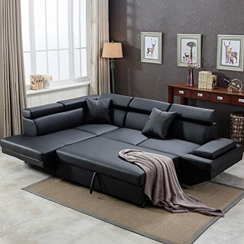 FDW Sofa Bed Living Room Sofas Couches and Sofas Corner Sofa Set Sleeper Sofa Faux Leather Queen 2 Piece Modern Contemporary, Black