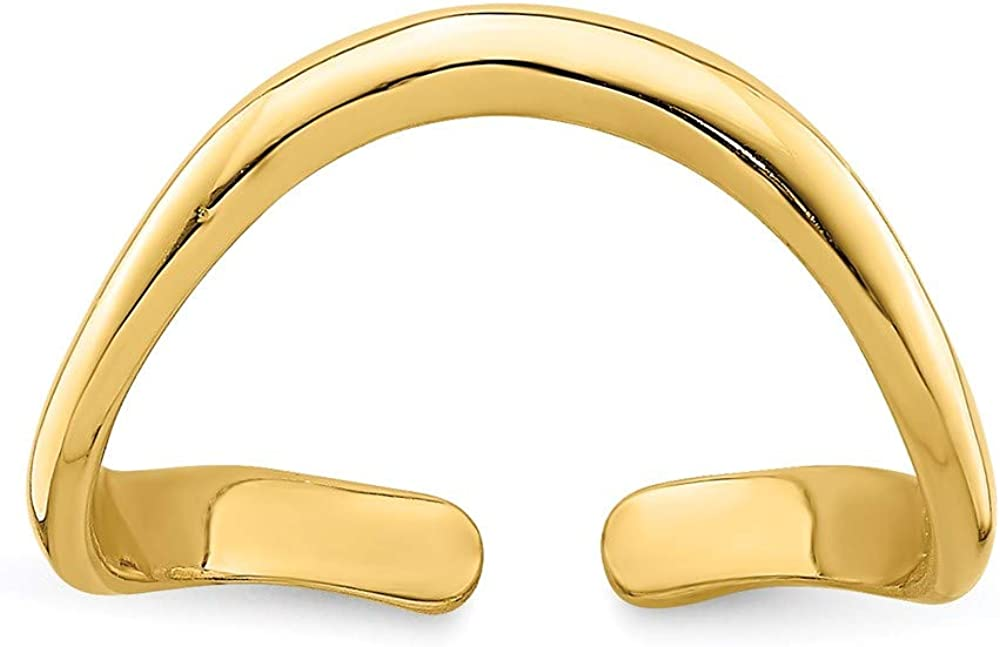 14k Yellow Gold Solid Gold Polished Adjustable Wave Toe Ring