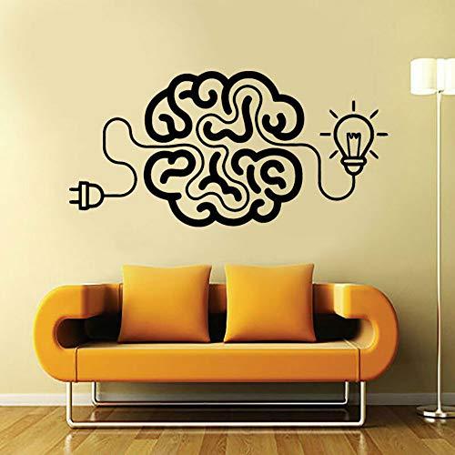 SLQUIET anpassbare Laden Sie das Gehirn Art Decal Idee Motivations Büro Vinyl Aufkleber mit Birne Dekoration Wohnzimmer Deco Aufkleber RedS 57x28cm