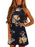 YOINS Vestido de verano para mujer con mangas y estampado floral y cuello acampanado 09 34-36
