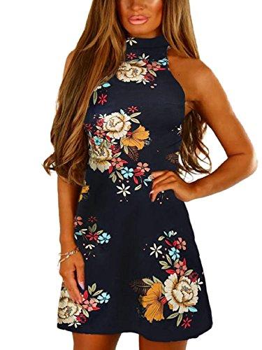 YOINS Damen Kleider Sommerkleid Ärmel Random mit Blumenmuster Kragen Ausgestellte Kleid 09 M/EU40-42