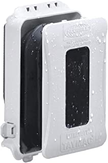 Hubbell-Bell ML500W 1-Gang Horizontal/Vertical Mount Weatherproof Expandable Low Profile Extra Duty While in Use Cover, White