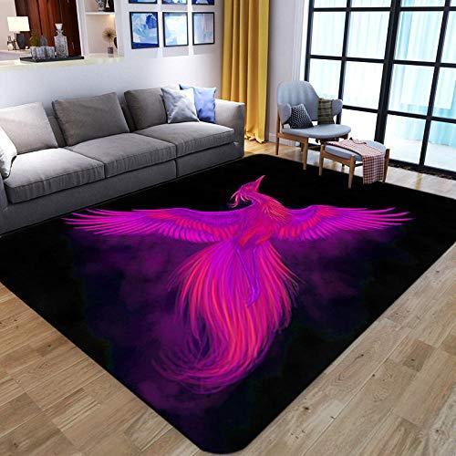 LHGBGBLN Lila 3D-Teppich Bird Print Wohnzimmer Großflächiger Teppich Sofa Tisch Balkon Bodenmatte Anti-Rutsch-Matte Türmatte