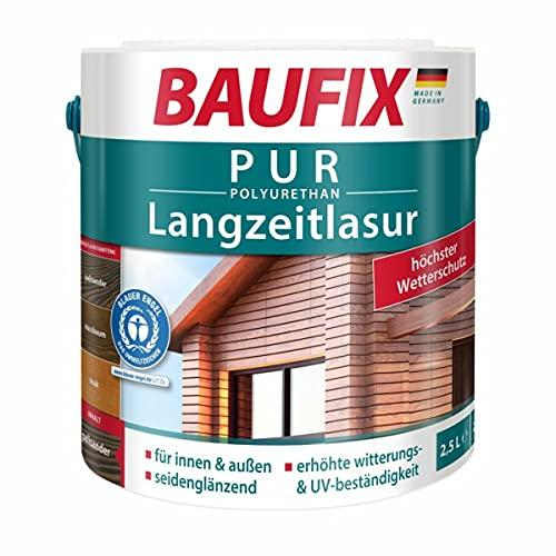 BAUFIX PUR Langzeitlasur, Holzlasur, Innen & Außen, Palisander, 2,5 L