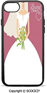 SCOCICI Non-Slip Drop Protection Smart Cell Phone Case Wedding Day Bride with White Dress and Flowers Image Compatible with iPhone 7