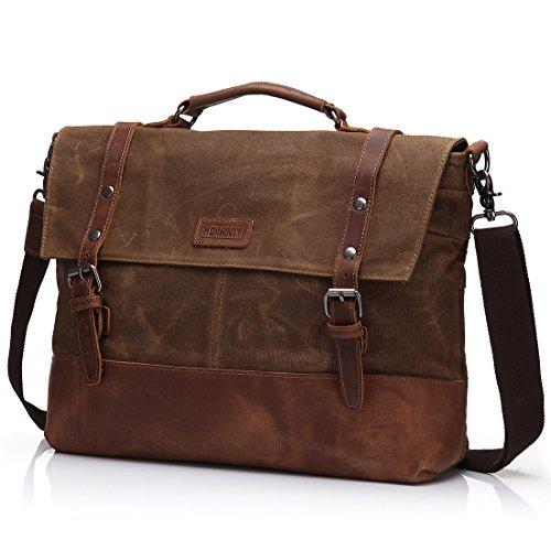 """Canvas 15.6"""" Laptop Messenger Bag for Men Vintage Leather Business Briefcase Shoulder Bags"""