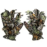 Voluxe Camouflage Hunting Gloves, Pongee Portable Non Slip Outdoor Leaf Gloves for Bird Watching for Hunting