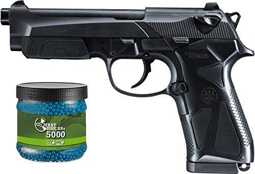 g8ds Set: Softair Two Pistole Beretta 90 Federdruck unter 0,5 J 6 mm BB + Umarex Combat Zone Softairkugeln blau 6mm 0,12g 5000 BBS