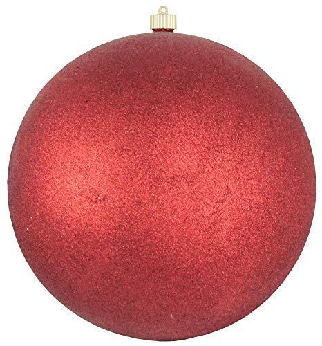 Christmas By Krebs Giant Commercial Grade Indoor Outdoor Moisture Resistant Shatterproof Plastic Ball Ornament, 12 (300mm), Red Glitter