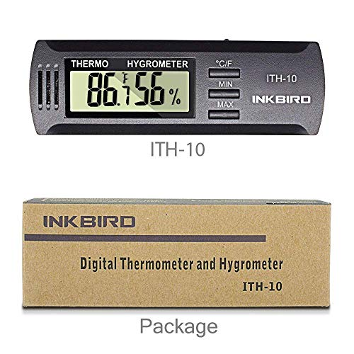 Inkbird ITH-10 Digitale Thermometer en Hygrometer,Airconditioning Temperatuur-vochtigheidsmeter,Temperatuur Humidity-recorder voor Sigaren Kast Humidor Gitaar Ukulele Mason Jar