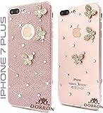 DORRON® Glitter Bling Girls Soft TPU Mobile Phone Back Cover Case Designed for Apple iPhone 7 Plus (Rose Gold_3D Butterfly)